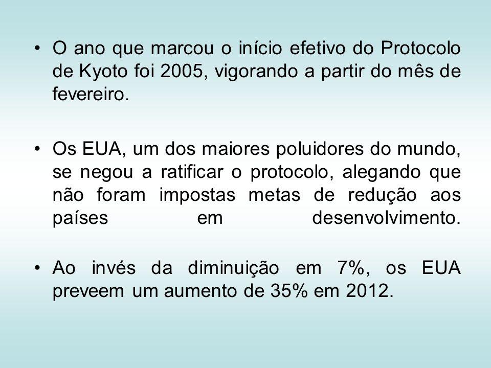 O ano que marcou o início efetivo do Protocolo de Kyoto foi 2005, vigorando a partir do mês de fevereiro.