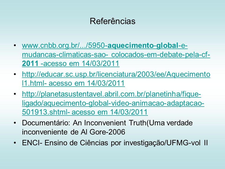 Referências www.cnbb.org.br/.../5950-aquecimento-global-e-mudancas-climaticas-sao- colocados-em-debate-pela-cf-2011 -acesso em 14/03/2011.