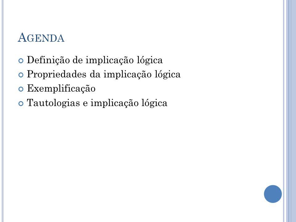 Agenda Definição de implicação lógica