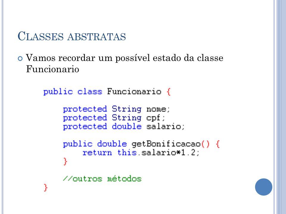 Classes abstratas Vamos recordar um possível estado da classe Funcionario