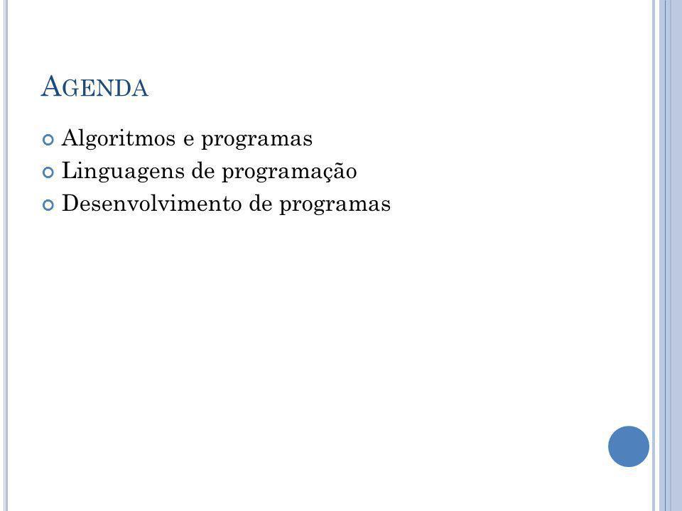 Agenda Algoritmos e programas Linguagens de programação