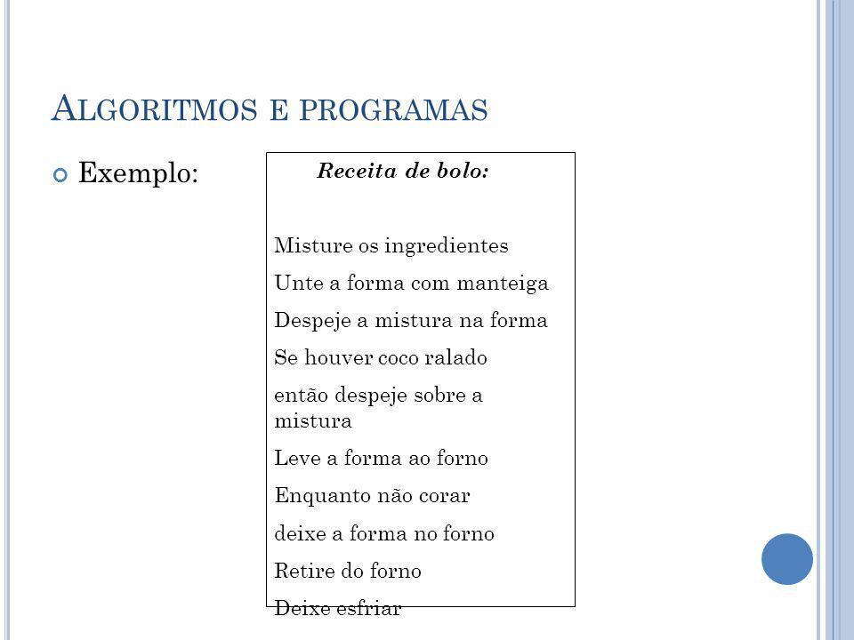 Algoritmos e programas