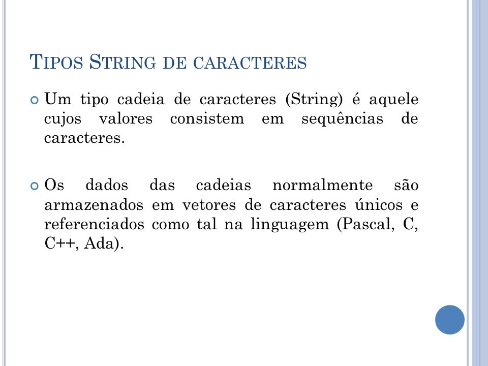 Tipos String de caracteres