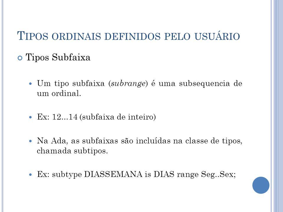 Tipos ordinais definidos pelo usuário
