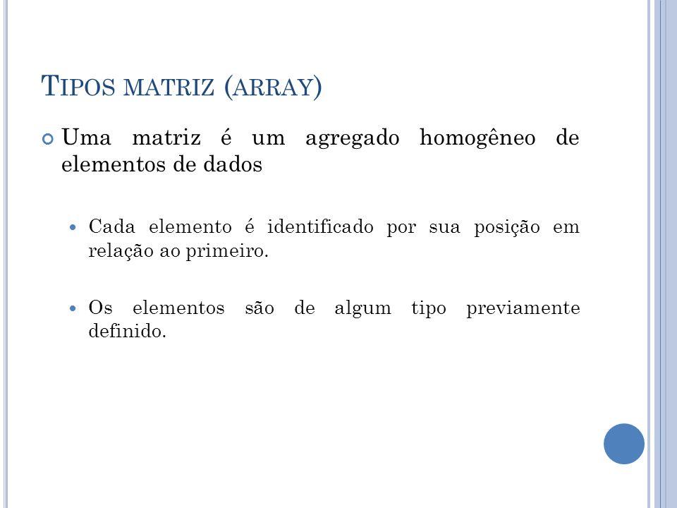 Tipos matriz (array) Uma matriz é um agregado homogêneo de elementos de dados. Cada elemento é identificado por sua posição em relação ao primeiro.