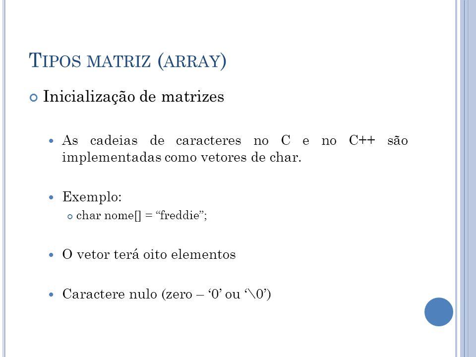Tipos matriz (array) Inicialização de matrizes