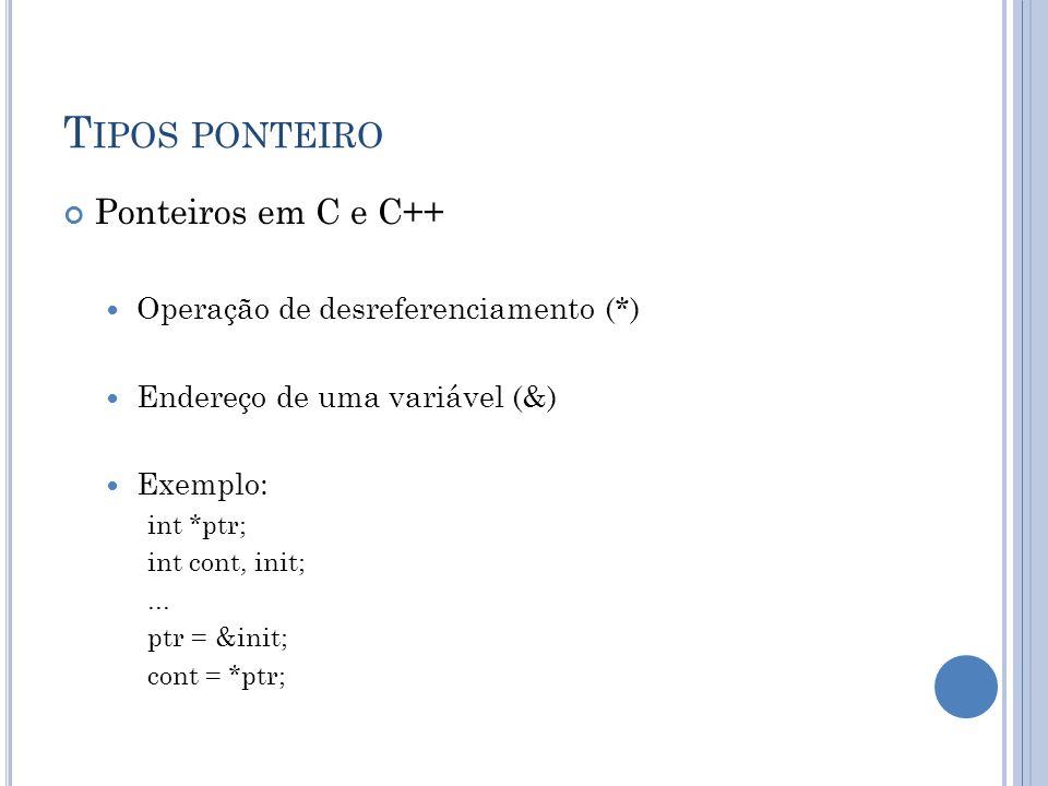 Tipos ponteiro Ponteiros em C e C++ Operação de desreferenciamento (*)