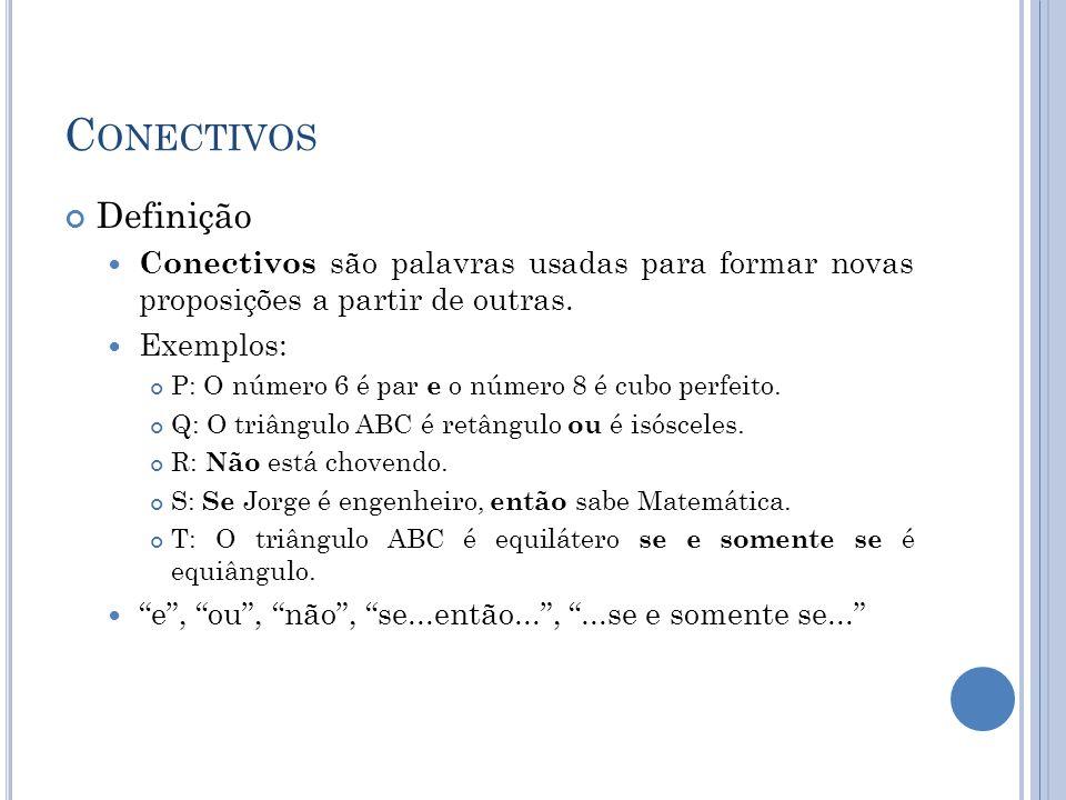 Conectivos Definição. Conectivos são palavras usadas para formar novas proposições a partir de outras.