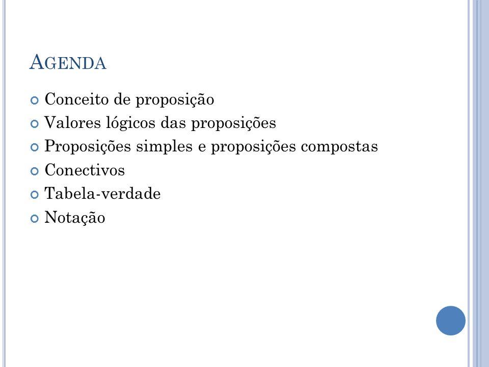 Agenda Conceito de proposição Valores lógicos das proposições