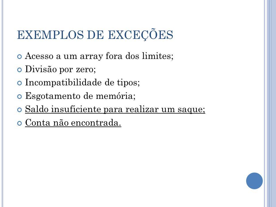 EXEMPLOS DE EXCEÇÕES Acesso a um array fora dos limites;