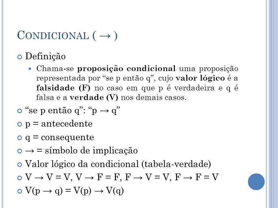 Condicional ( → ) Definição se p então q : p → q p = antecedente