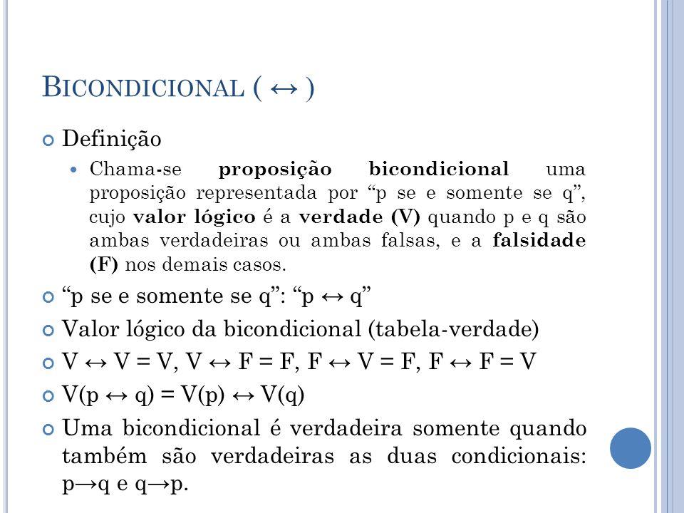 Bicondicional ( ↔ ) Definição p se e somente se q : p ↔ q