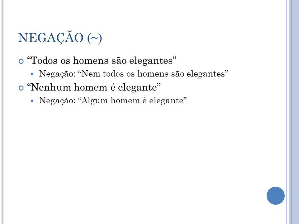 NEGAÇÃO (~) Todos os homens são elegantes Nenhum homem é elegante