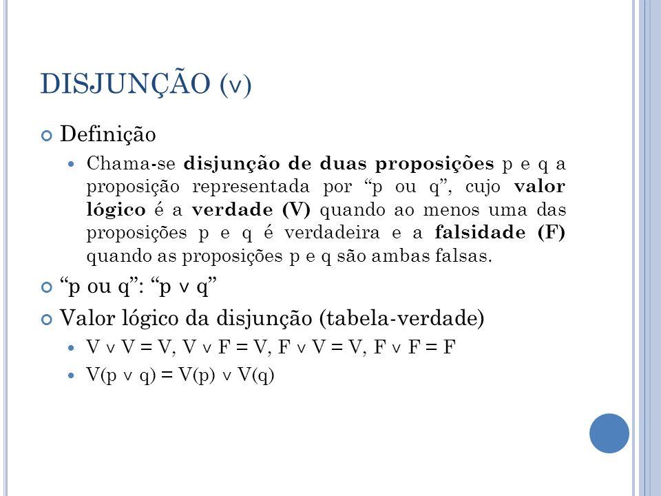 DISJUNÇÃO (˅) Definição p ou q : p ˅ q