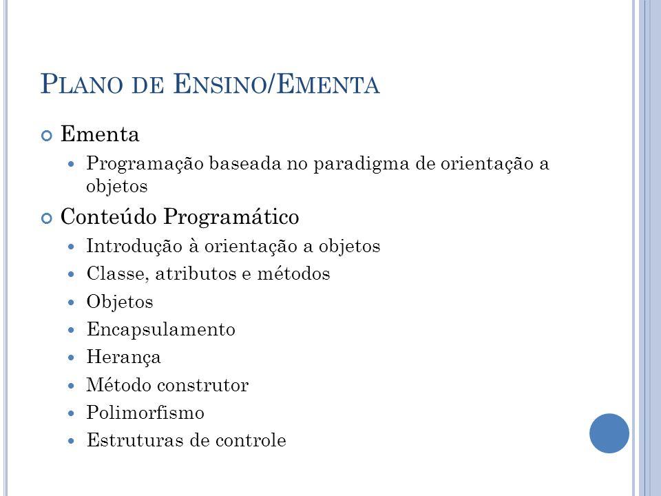 Plano de Ensino/Ementa