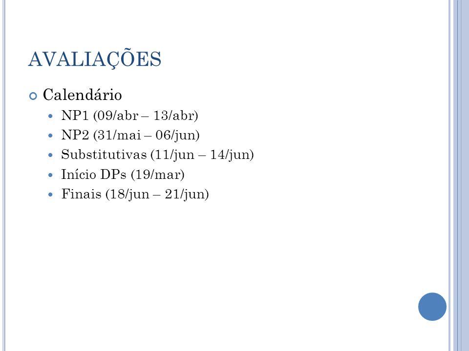 AVALIAÇÕES Calendário NP1 (09/abr – 13/abr) NP2 (31/mai – 06/jun)