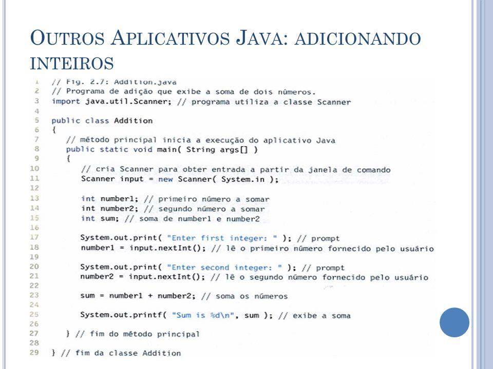 Outros Aplicativos Java: adicionando inteiros