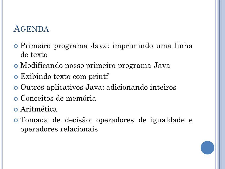Agenda Primeiro programa Java: imprimindo uma linha de texto