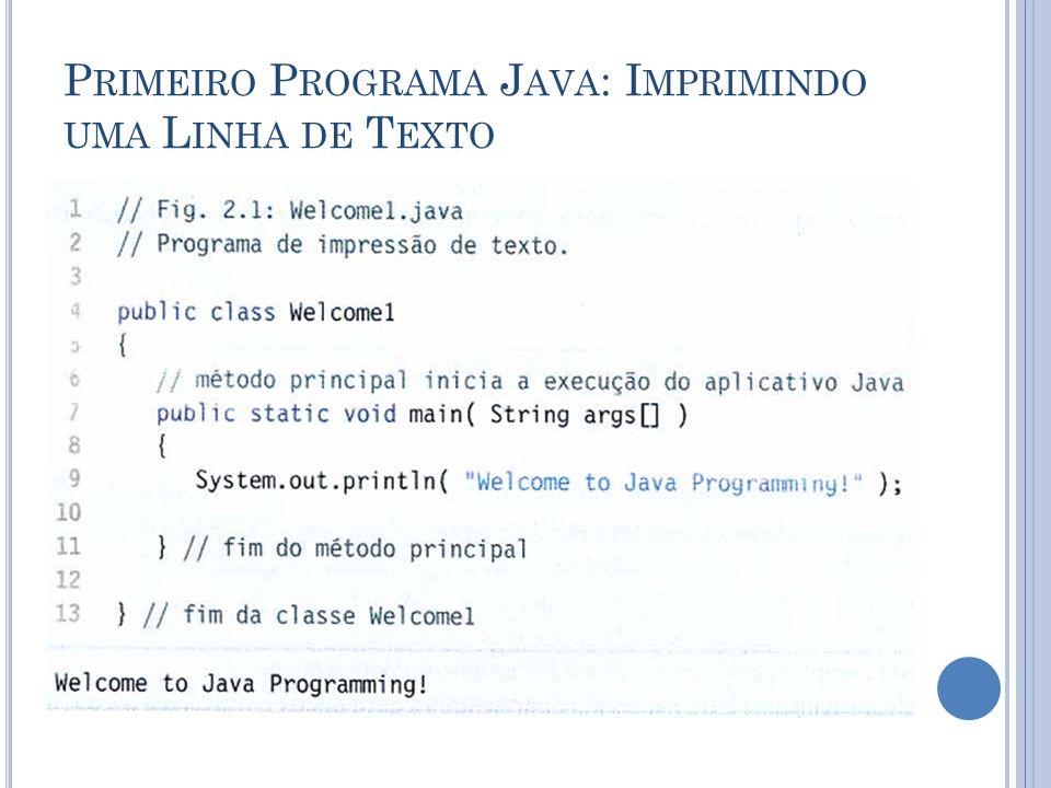 Primeiro Programa Java: Imprimindo uma Linha de Texto