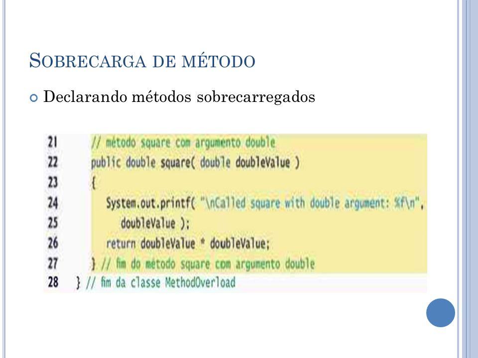 Sobrecarga de método Declarando métodos sobrecarregados