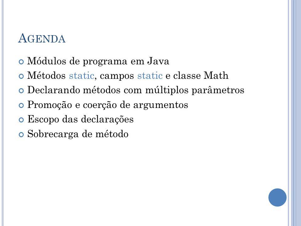 Agenda Módulos de programa em Java