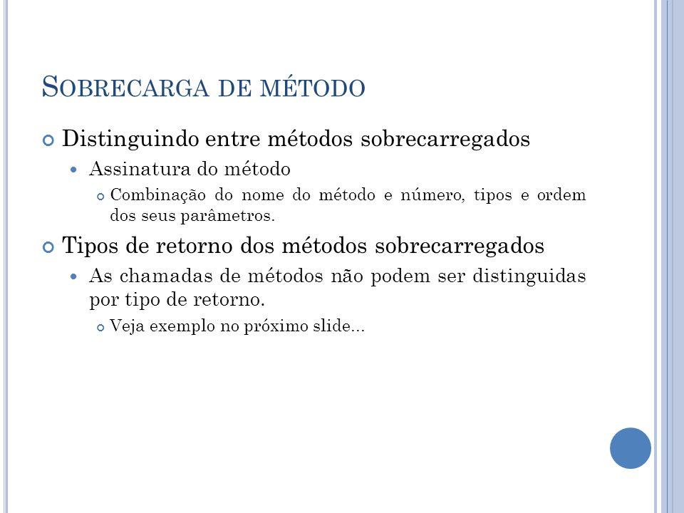 Sobrecarga de método Distinguindo entre métodos sobrecarregados