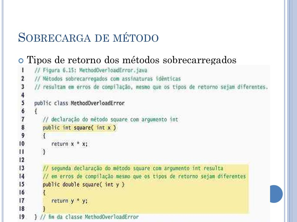 Sobrecarga de método Tipos de retorno dos métodos sobrecarregados