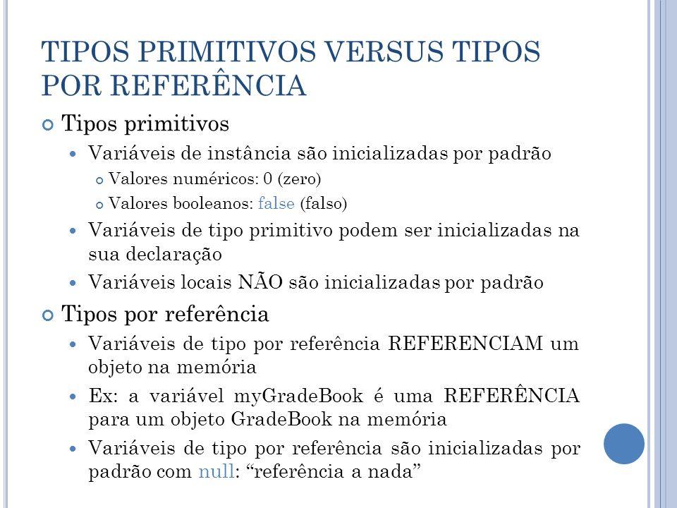 TIPOS PRIMITIVOS VERSUS TIPOS POR REFERÊNCIA
