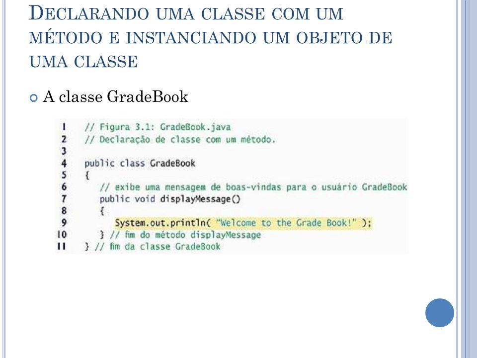 Declarando uma classe com um método e instanciando um objeto de uma classe