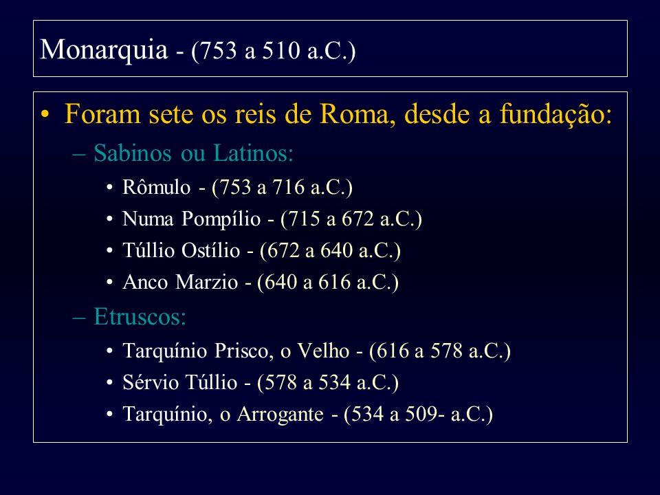 Foram sete os reis de Roma, desde a fundação: