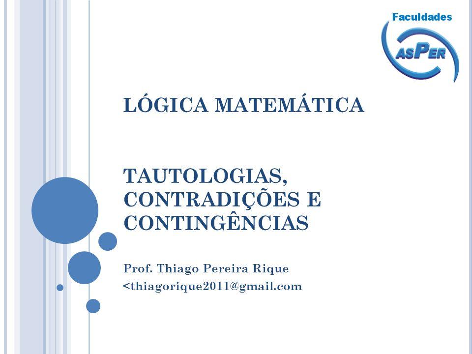 LÓGICA MATEMÁTICA TAUTOLOGIAS, CONTRADIÇÕES E CONTINGÊNCIAS