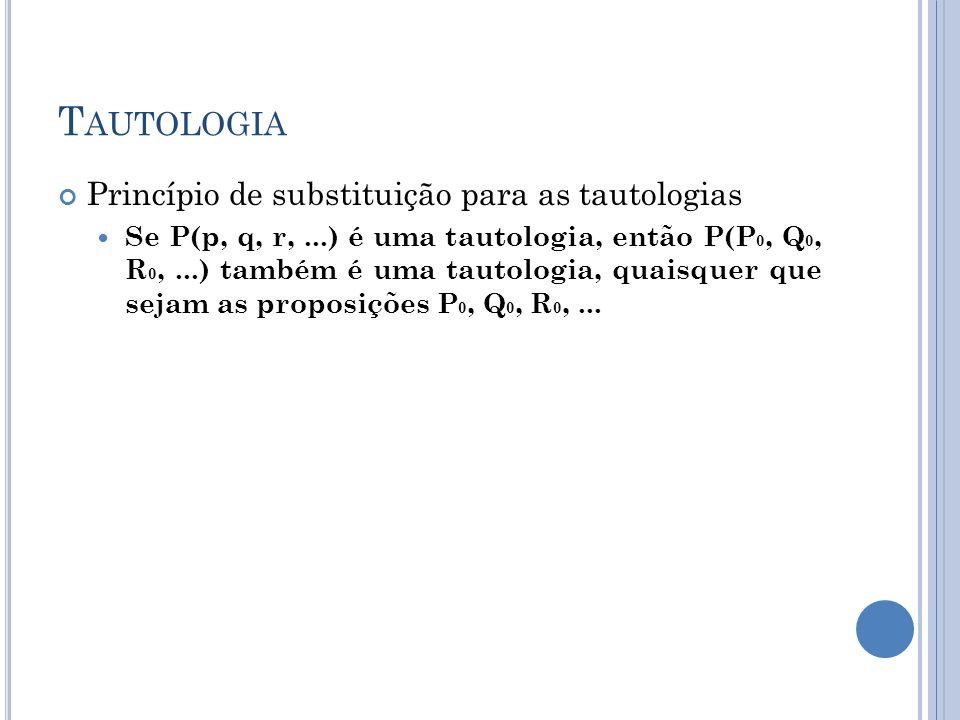 Tautologia Princípio de substituição para as tautologias