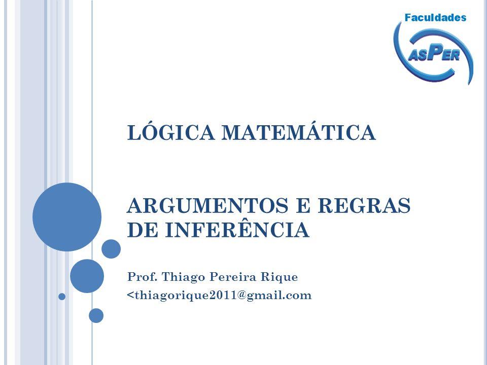 LÓGICA MATEMÁTICA ARGUMENTOS E REGRAS DE INFERÊNCIA