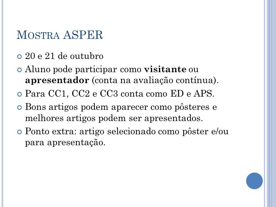 Mostra ASPER 20 e 21 de outubro