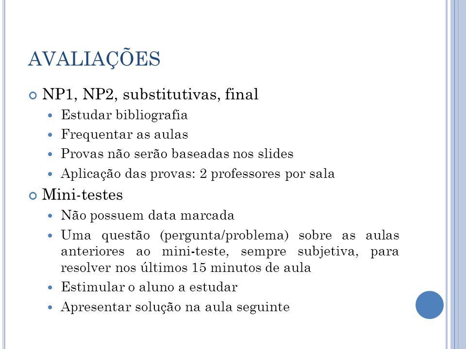 AVALIAÇÕES NP1, NP2, substitutivas, final Mini-testes