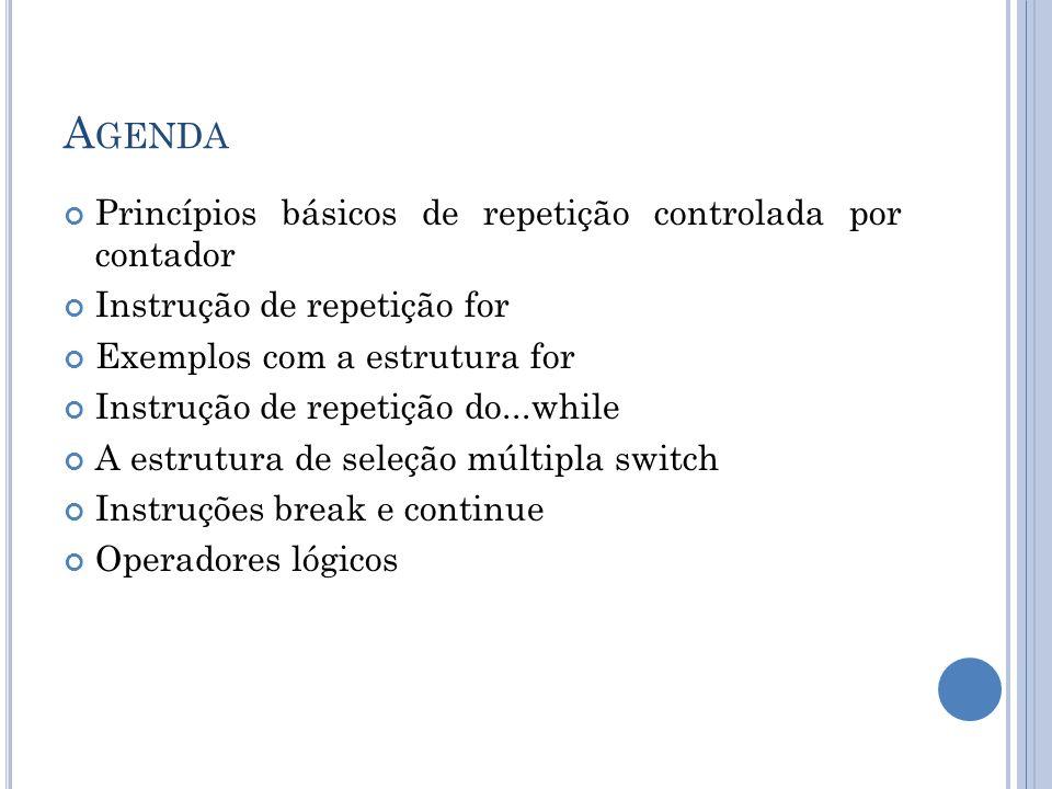 Agenda Princípios básicos de repetição controlada por contador