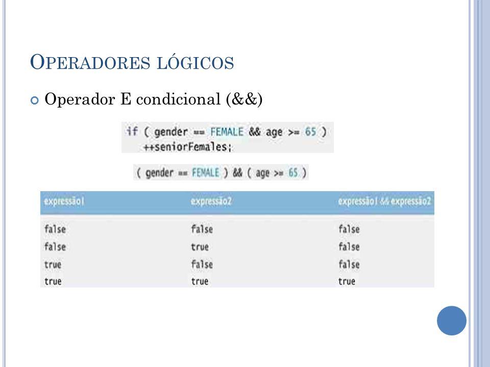 Operadores lógicos Operador E condicional (&&)