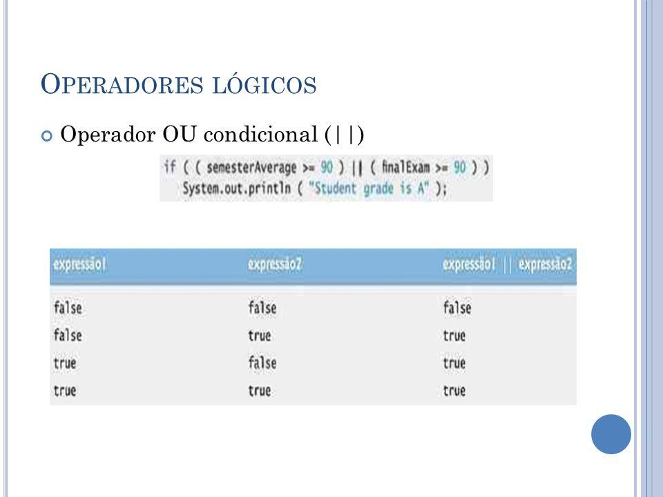 Operadores lógicos Operador OU condicional (||)