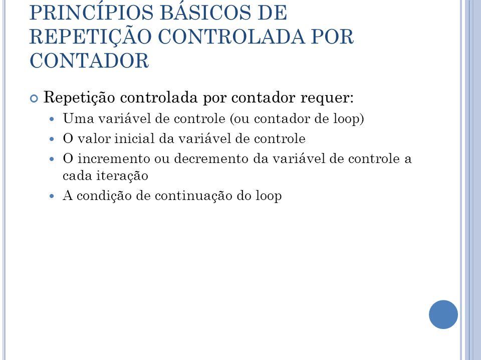PRINCÍPIOS BÁSICOS DE REPETIÇÃO CONTROLADA POR CONTADOR