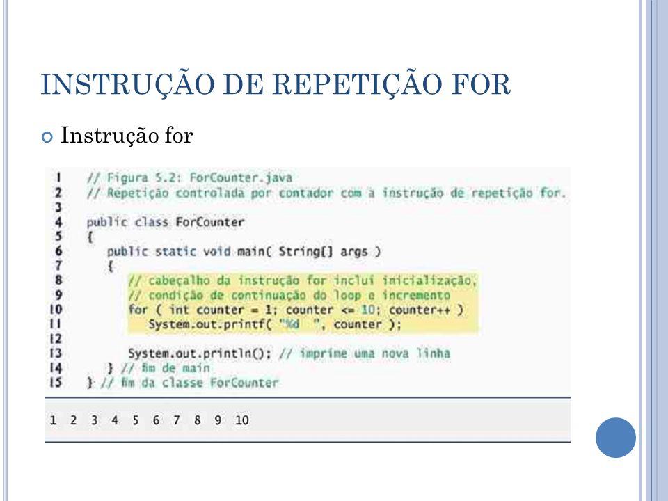 INSTRUÇÃO DE REPETIÇÃO FOR