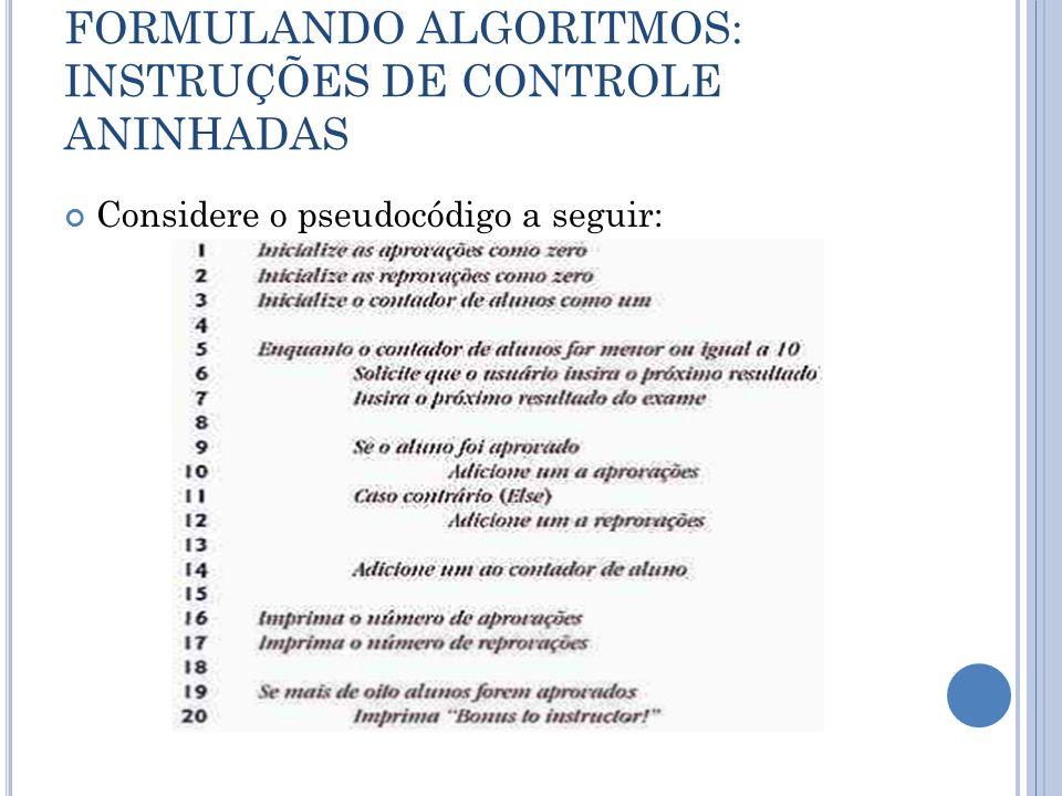 FORMULANDO ALGORITMOS: INSTRUÇÕES DE CONTROLE ANINHADAS