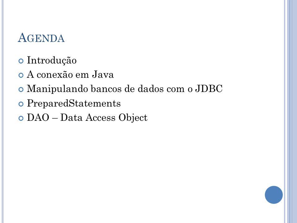 Agenda Introdução A conexão em Java