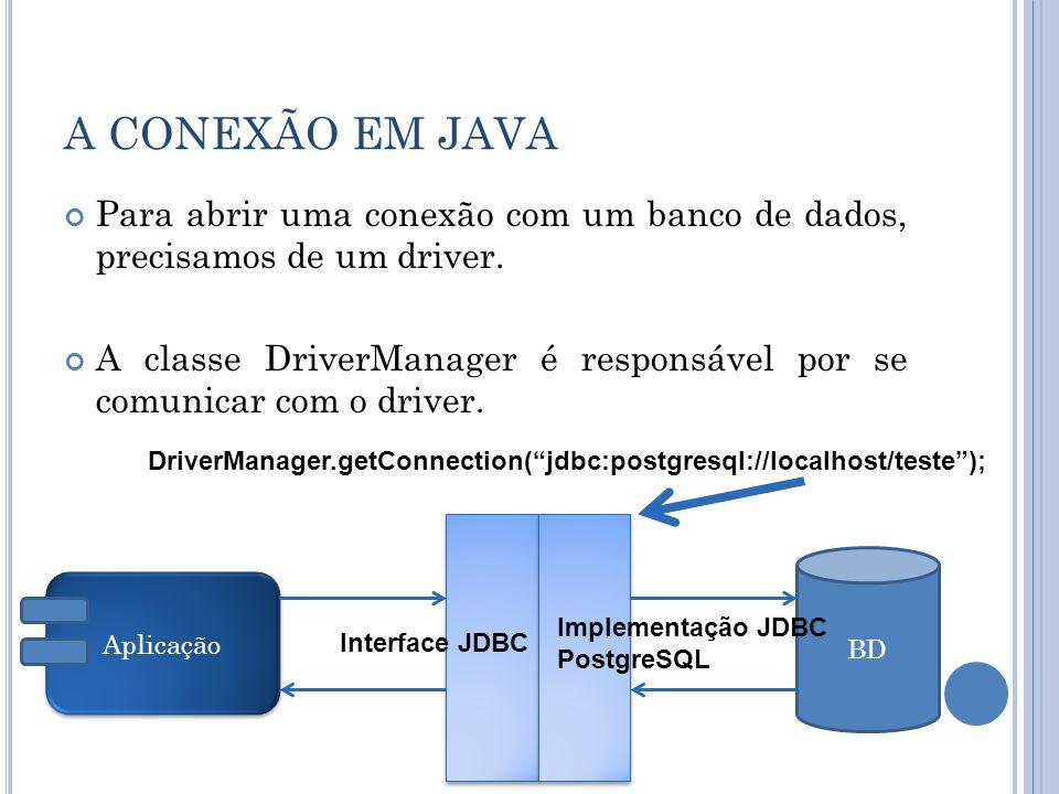 A CONEXÃO EM JAVA Para abrir uma conexão com um banco de dados, precisamos de um driver.