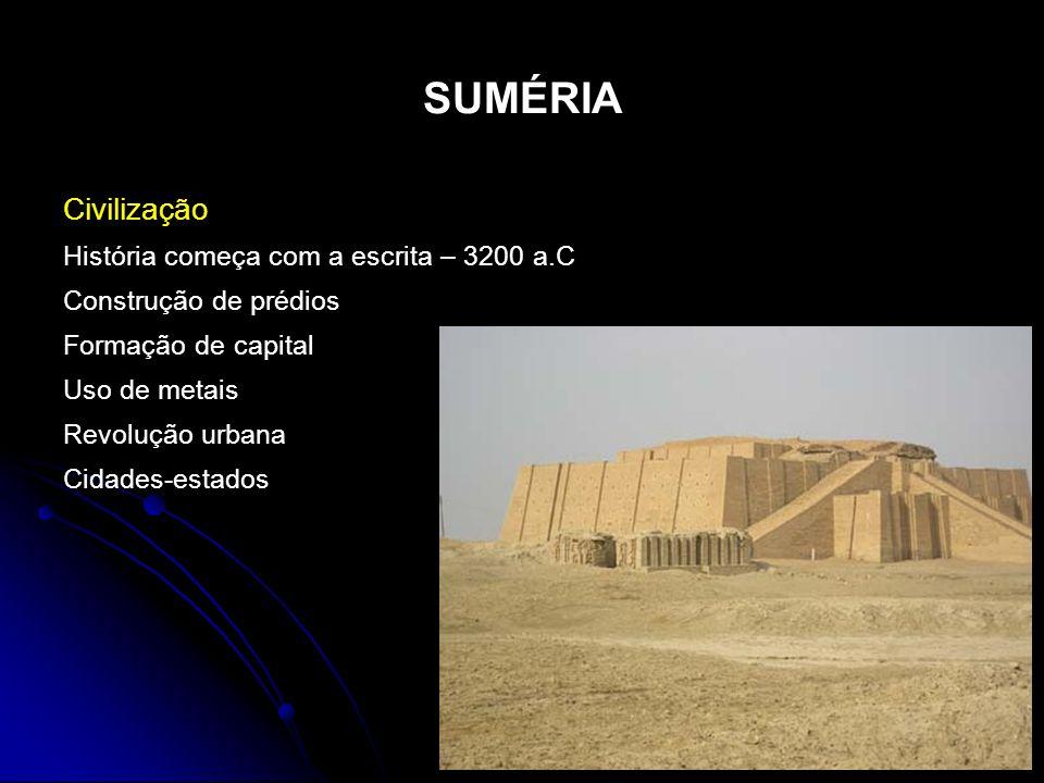 SUMÉRIA Civilização História começa com a escrita – 3200 a.C