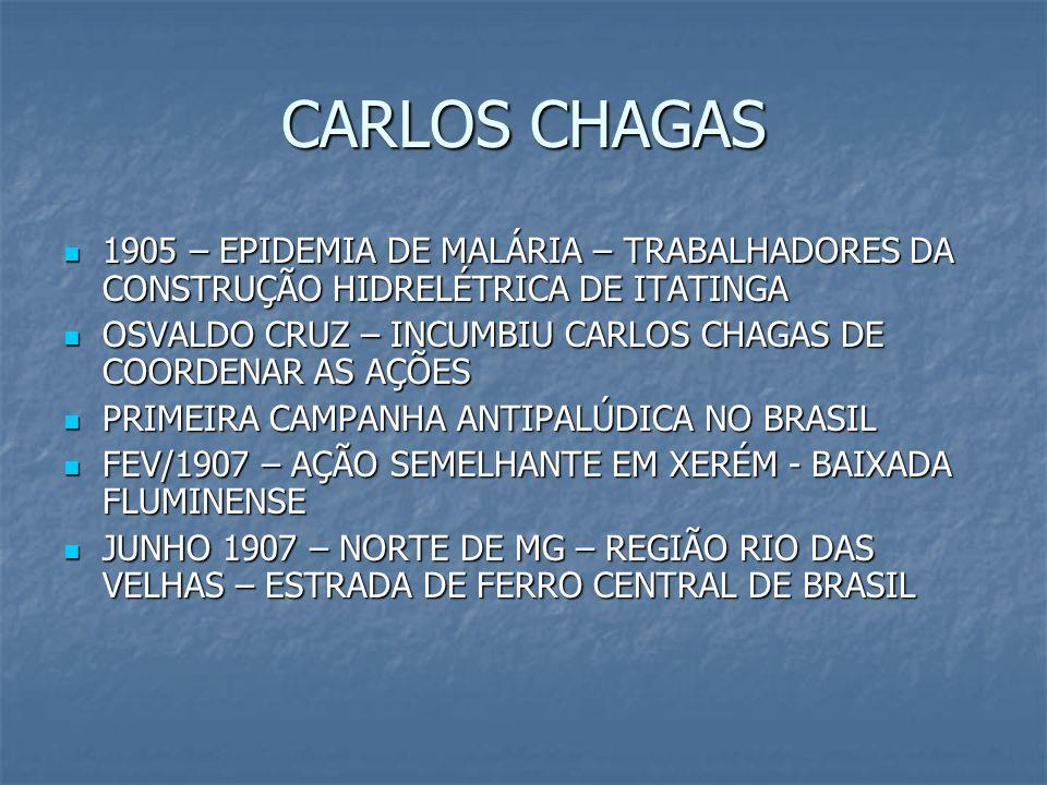 CARLOS CHAGAS1905 – EPIDEMIA DE MALÁRIA – TRABALHADORES DA CONSTRUÇÃO HIDRELÉTRICA DE ITATINGA.