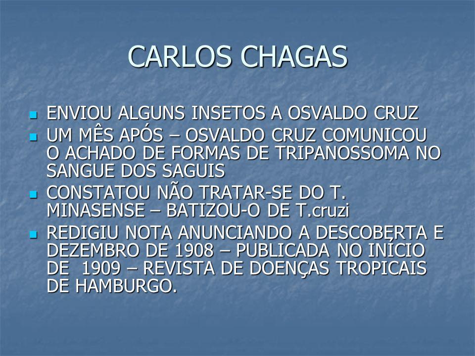 CARLOS CHAGAS ENVIOU ALGUNS INSETOS A OSVALDO CRUZ