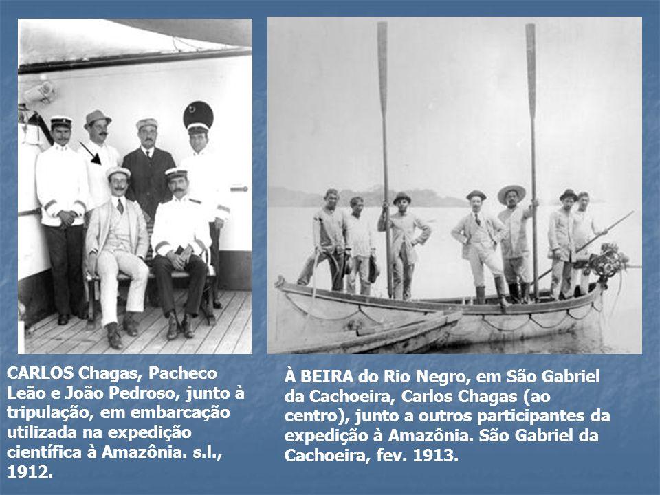 CARLOS Chagas, Pacheco Leão e João Pedroso, junto à tripulação, em embarcação utilizada na expedição científica à Amazônia. s.l., 1912.