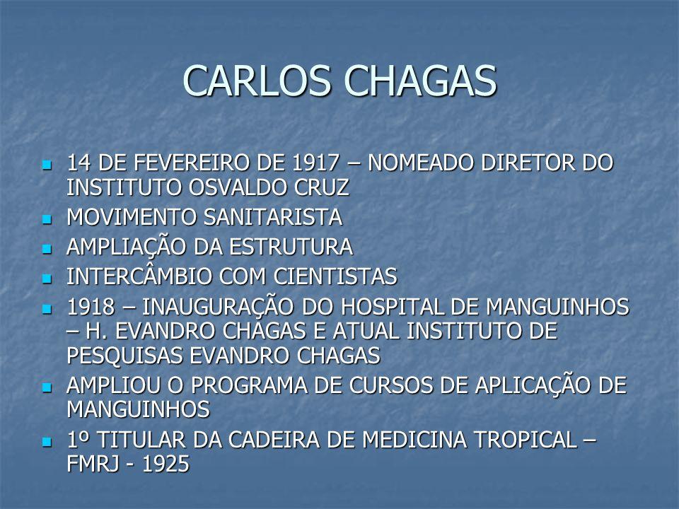 CARLOS CHAGAS 14 DE FEVEREIRO DE 1917 – NOMEADO DIRETOR DO INSTITUTO OSVALDO CRUZ. MOVIMENTO SANITARISTA.