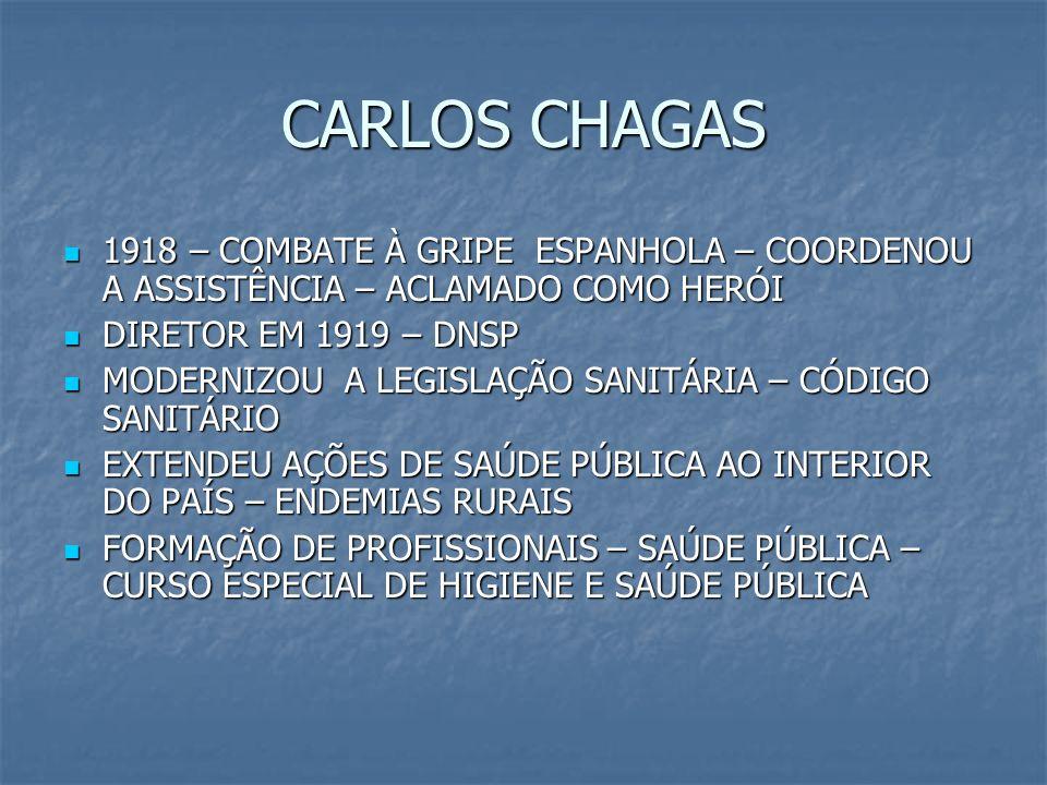 CARLOS CHAGAS1918 – COMBATE À GRIPE ESPANHOLA – COORDENOU A ASSISTÊNCIA – ACLAMADO COMO HERÓI. DIRETOR EM 1919 – DNSP.