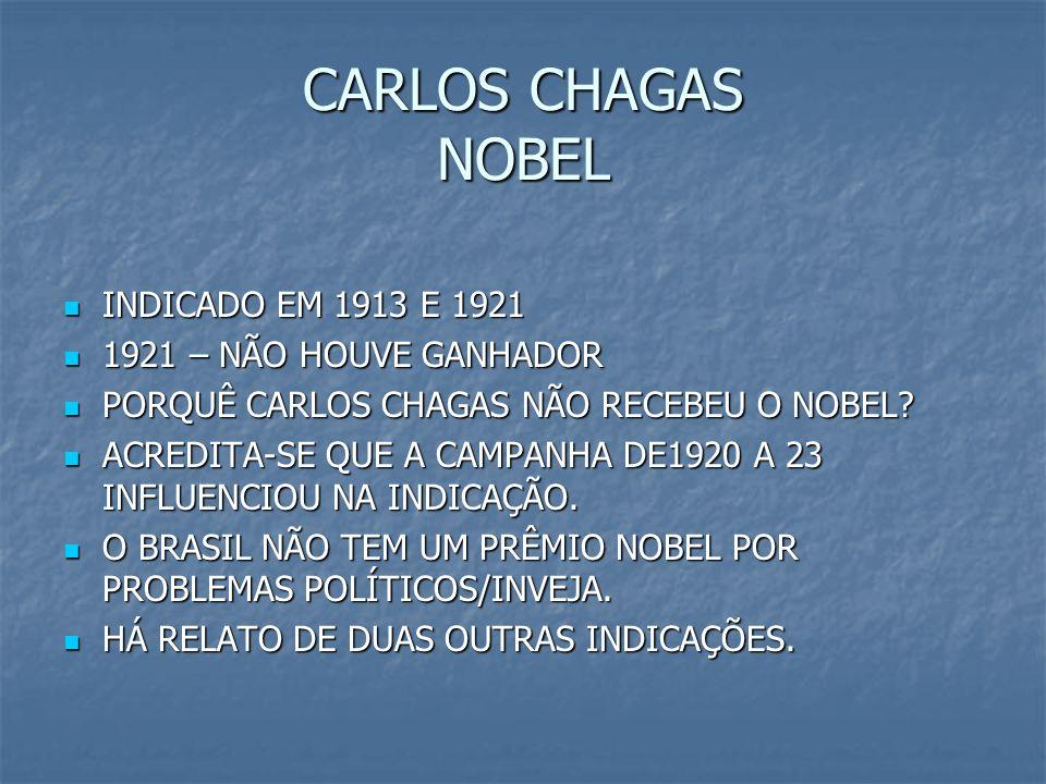 CARLOS CHAGAS NOBEL INDICADO EM 1913 E 1921 1921 – NÃO HOUVE GANHADOR